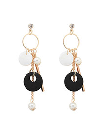 Bohemia Black Round Shape Pendant Decorated Simple Tassel Earrings