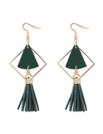 Fashion Green Fan Shape Decorated Hollow Out Tassel Simple Earrings