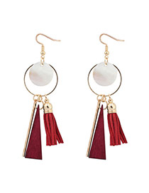 Sweet Red Round Shape Pendant Decorated Simple Tassel Earrings