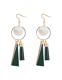 Sweet Green Round Shape Pendant Decorated Simple Tassel Earrings