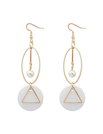 Fashion White Geometric Shape Decorated Hollow Out Simple Earrings