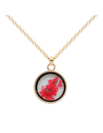 Fashion Red Flower Decorated Simple Long Chain Necklace