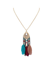 Bohemia Multi-color Feather Decorated Simple Tassel Long Chain Necklace