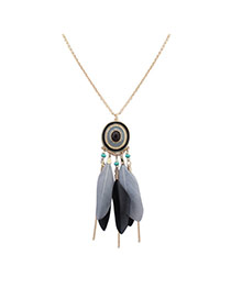 Bohemia Gray Feather Decorated Simple Tassel Long Chain Necklace