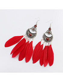 Elegant Red Feather Tassel Pendant Decorated Simple Earring