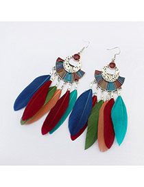 Elegant Multi-color Feather Tassel Pendant Decorated Simple Earring