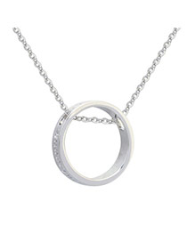 Cute Silver Color Letter Pattern&round Pendant Decorated Simple Necklace