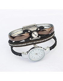 Elegant Black Bowkont Shape Decorated Multilayer Watch