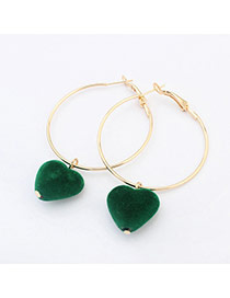 Sweet Green Heart Shape Pendant Decorated Simple Earring