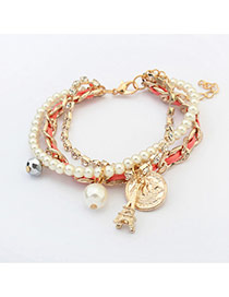 Fashion Pink Iron Tower&pearls Pendant Decorated Multi-layer Bracelet