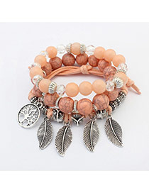 Bohemia Light Orange Metal Leaf Pendant Decorated Simple Multilyer Bracelet