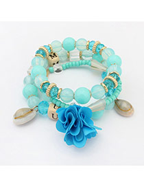 Bohemia Light Blue Flower&shell Pendant Decorated Simple Multilayer Bracelet