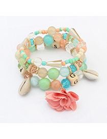 Bohemia Multi-color Flower&shell Pendant Decorated Simple Multilayer Bracelet
