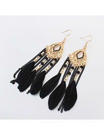 Bohemia Black Feather &chain Pendant Decorated Simple Earrings
