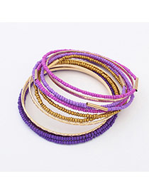 Fashion Purple Beads Decorated Multi-layer Color Matching Bracelet
