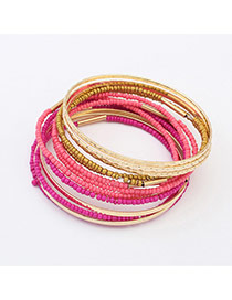 Fashion Plum Red Beads Decorated Multi-layer Color Matching Bracelet