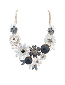 Fashion Black Flowers Decorated Color Matching Simple Necklace