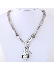 Personality Silver Color Snake Shape Decorated Pure Color Simple Necklace