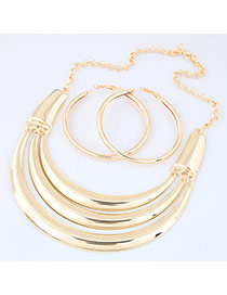 Fashion Gold Color Pure Color Decorated Multilayer Jewelry Sets