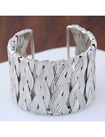 Fashion Silver Color Pure Color Decorated Simple Opening Bracelet