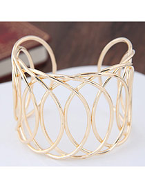 Fashion Gold Color Pure Color Decorated Hollow Out Simple Opening Bracelet