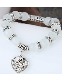 Personality White Metal Heart Pendant Decorated Simple Bracelet
