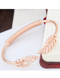 Fashion Gold Color Metal Leaf Shape Decorated Simple Pure Color Opeing Bracelet