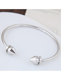 Fashion Silver Color Circular Cone Shape Decorated Simple Pue Color Opening Bracelet