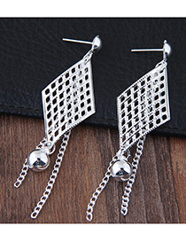Fashion Silver Color Hollow Out Diamond Shape Decorated Pure Color Earrings