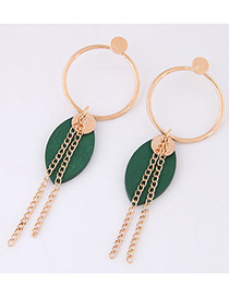 Personality Green Oval Shape Pendnat Decorated Simple Earrings