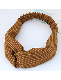 Fashion Dark Yellow Stripe Pattern Decorated Simple Wide Hair Band