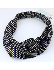 Fashion Black Stripe Pattern Decorated Simple Wide Hair Band