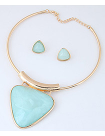Fashion Light Blue Triangle Shape Pendant Decorated Simple Jewelry Sets