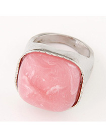Fashion Silver Color+pink Square Shape Gemstone Decorated Color Matching Ring