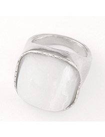 Fashion Silver Color+white Square Shape Gemstone Decorated Color Matching Ring