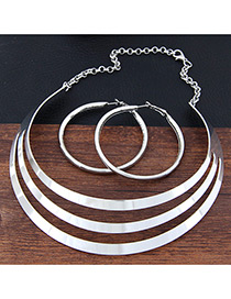 Trendy Silver Color Pure Color Decorated Hollow Out Irregular Shape Jewelry Sets