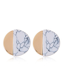 Trendy Gold Color+white Round Shape Decorated Color Matching Simple Earrings