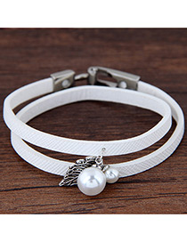 Lovely White Metal Leaf &round Shape Decorated Simple Double Layer Bracelet