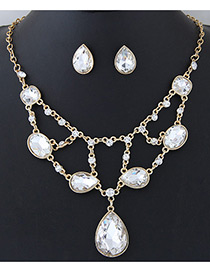 Elegant White Oval Shape Diamond Decorated Simple Holloe Out Jewelry Sets