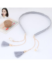 Elegant Gray Long Tassel Pendant Decorated Color Matching Hair Clasp