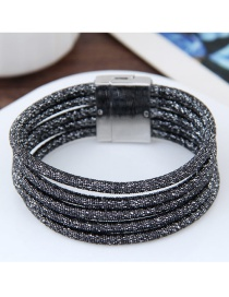 Elegant Black Pure Color Decorated Multi-layer Magnet Bracelet