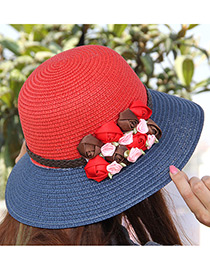 Elegant Red+dark Blue Flowers Decorated Color Matching Sunshade Beach Hat