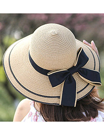 Fashion Beige Bowknot Decorated Pure Color Sunshade Beach Hat