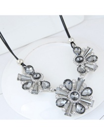 Trendy Gray Diamond Decorated Flower Shape Pure Color Necklace