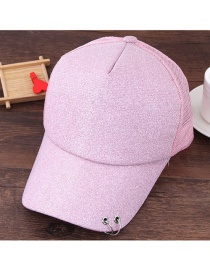 Fashion Pink Circular Ring Decorated Pure Color Simple Baseball Cap