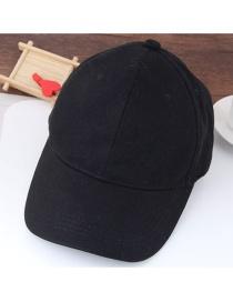 Fashion Black Pure Color Decorated Simple Baseball Cap