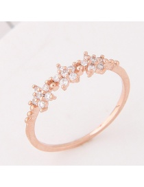 Elegant Rose Gold Flower Decorated Pure Color Simple Ring