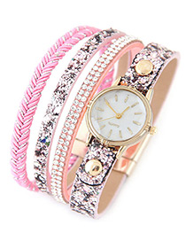 Trendy Pink Diamond Decorated Round Dail Multi-layer Simple Watch