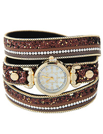 Elegant Brown Diamond Decorated Round Dail Multi-layer Simple Watch