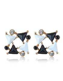 Trendy Mutlti-color Triangle Shape Diamond Decorated Color Matching Earrings